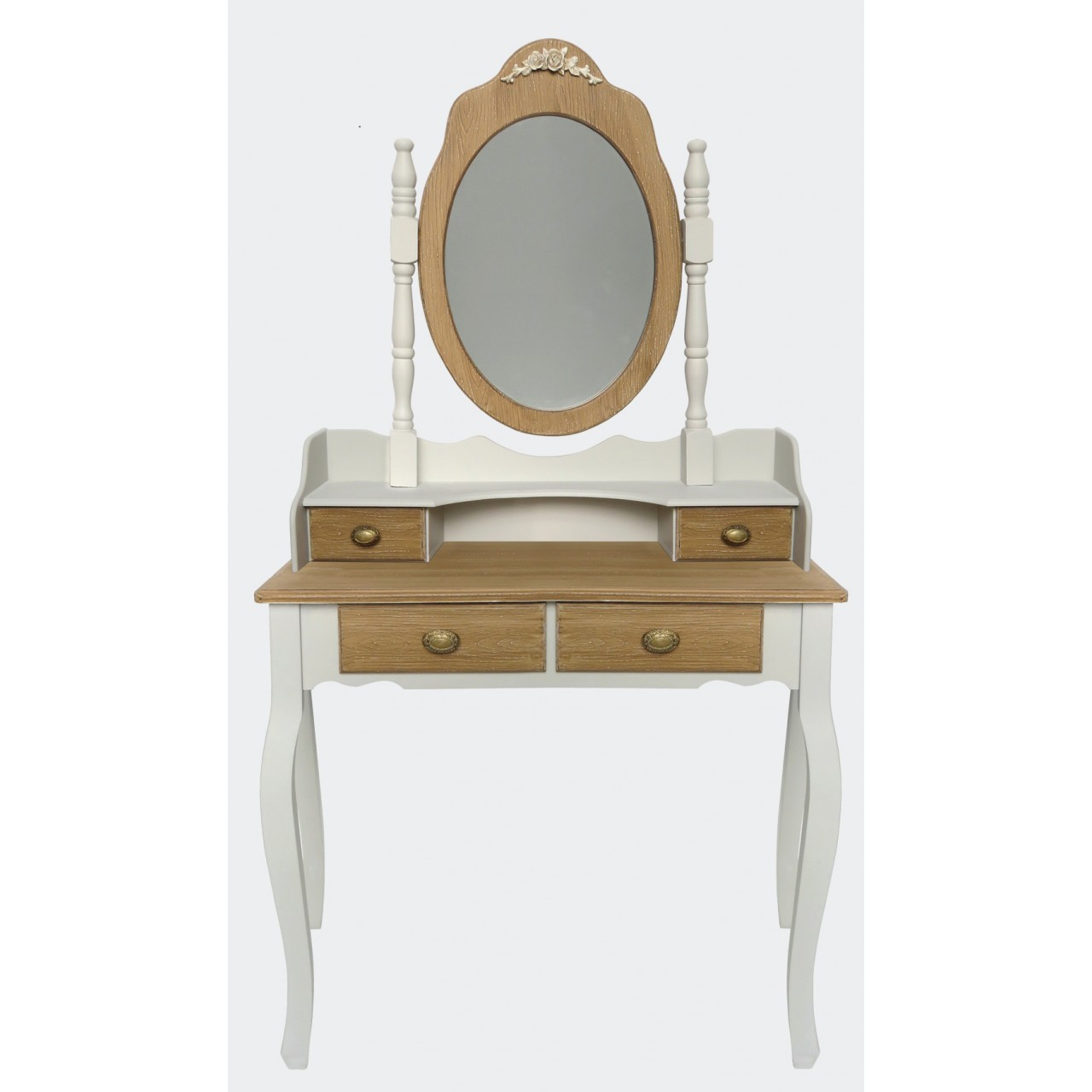 dressing table with mirror romantique ecru with brown. Black Bedroom Furniture Sets. Home Design Ideas