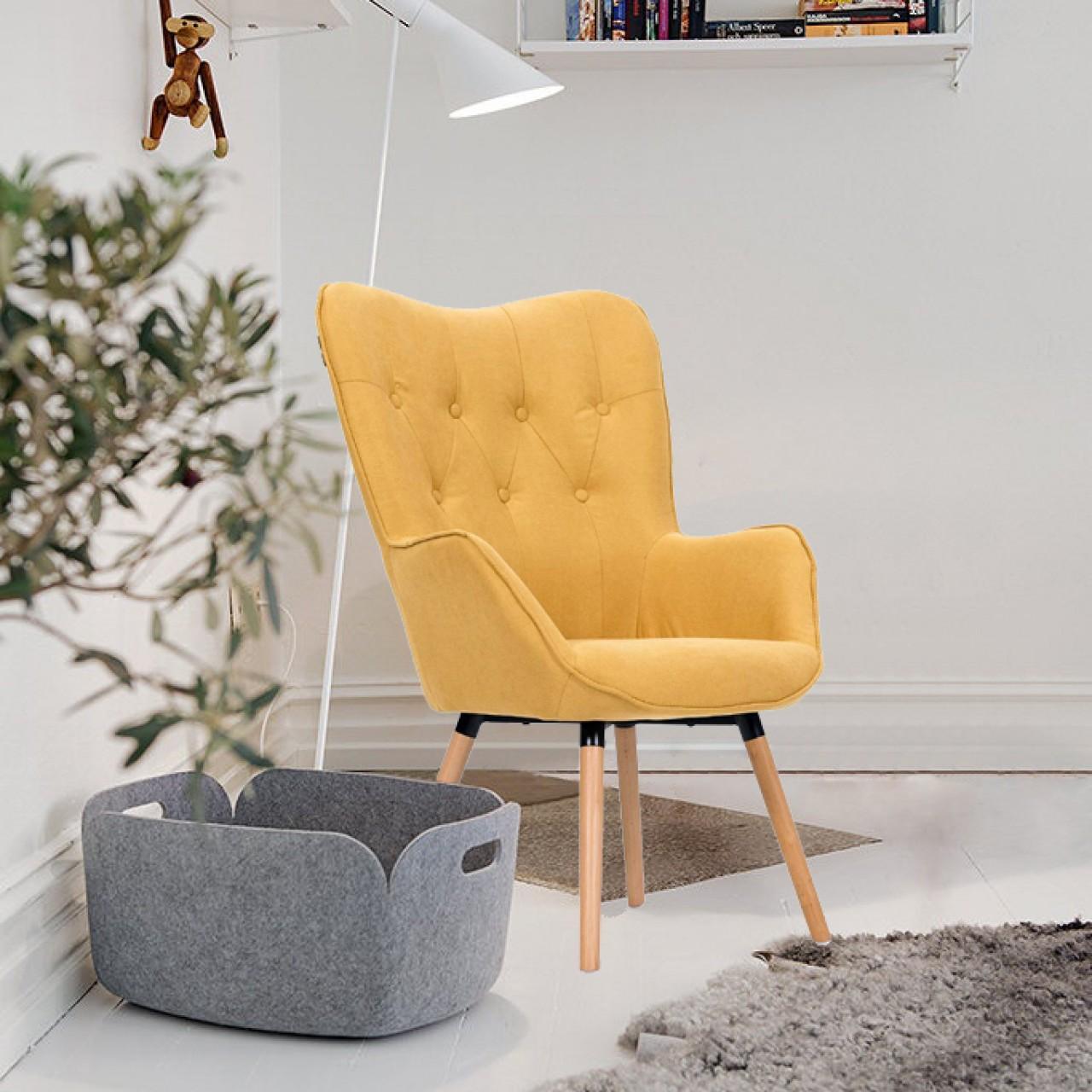 Πολυθρόνα Claremont Κίτρινο Έπιπλα Σαλονιού