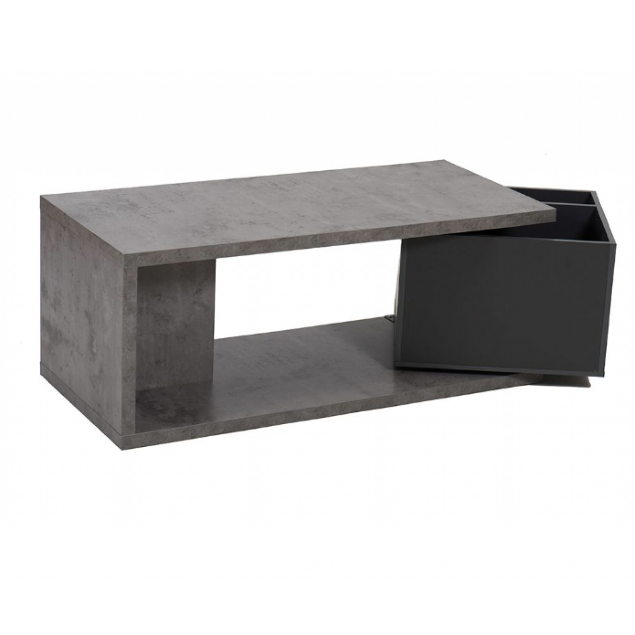 Coffee table rolling cube cement anthracite living room furniture